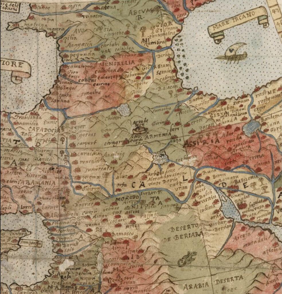 Планисфера Урбана Монте 1590 год. Фрагмент