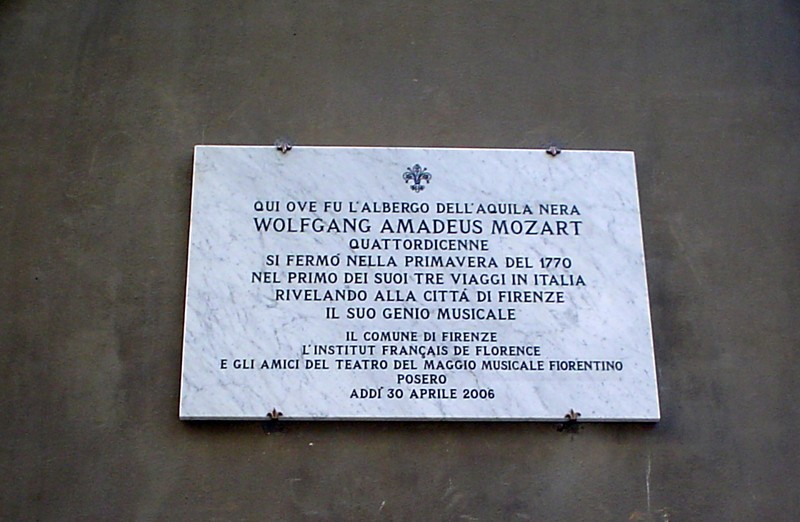 Памятная доска Моцарту во Флоренции