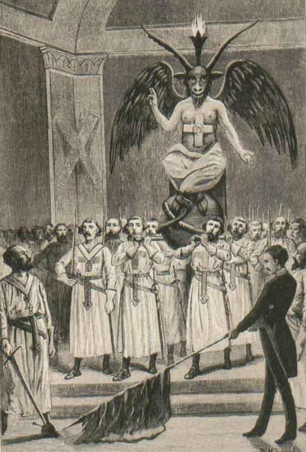 Поклонение Бафомету масонами. Иллюстрация из книги «Дьявол XIX века»