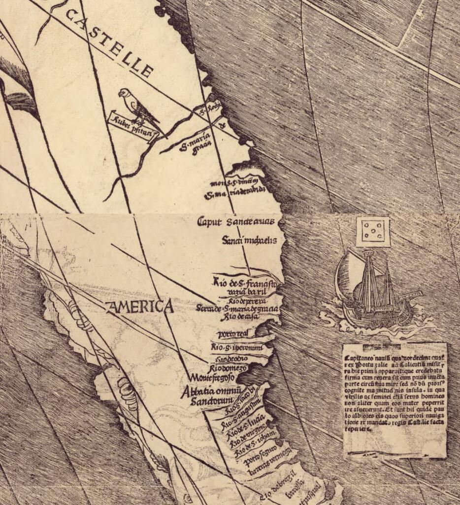 Карта Мартина Вальдземюллер 1507 год. Фрагмент