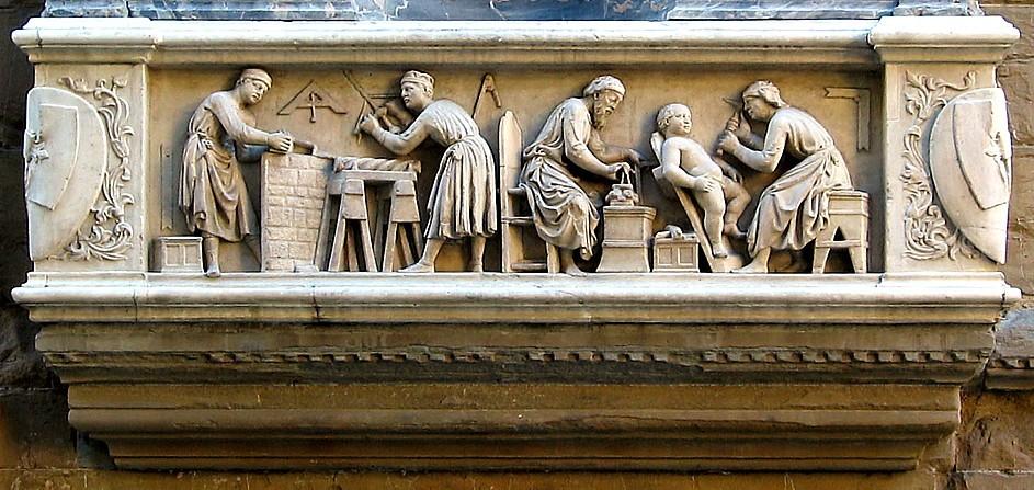 Строители и скульпторы. Барельеф церкви Орсанмикеле Флоренция