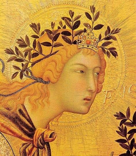 Архангел Гавриил «Благовещение» Симоне Мартини, деталь. Галерея Уффици, Флоренция