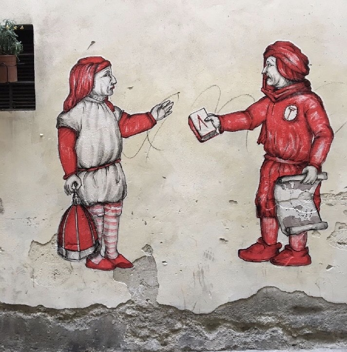 Street Art на тему средневековья. Yuri Hornn