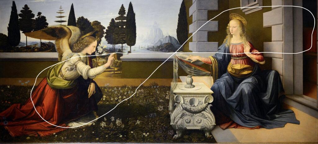 «Благовещенье» Леонардо да Винчи. Галерея Уффици, Флоренция