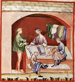 Шелковая лавка Лукки. Фреска XIV века