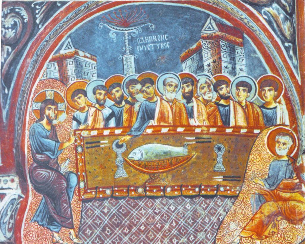 Тайная Вечеря. Фреска в пещерной церкви. Каппадокия